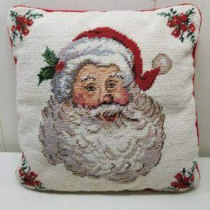 Needlepoint Santa Pillow Red Velvet Back Wool